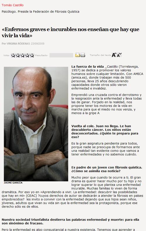 «Enfermos graves e incurables nos enseñan que hay que vivir la vida» ABC.es - ABC de la Última_1253897386930